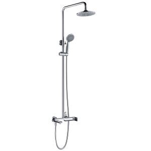 Copper European Shower Set Hot and Cold Faucet Silver White