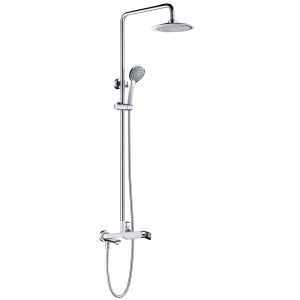Copper European Shower Set Hot and Cold Faucet White + Silver White