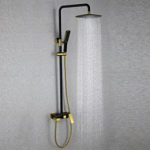 European Modern Copper Shower Sets Hot and Cold Shower Faucet Black + Gold