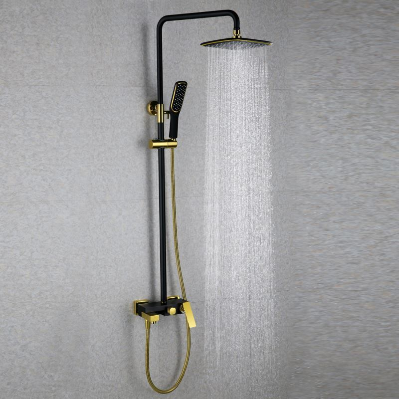 European Modern Copper Shower Sets Hot And Cold Shower Faucet Black