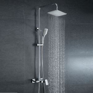 European Modern Copper Shower Sets Hot and Cold Shower Faucet Silver White
