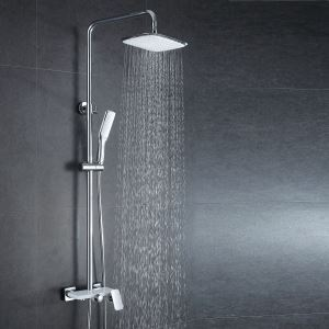 European Modern Copper Shower Sets Hot and Cold Shower Faucet White + Silver White