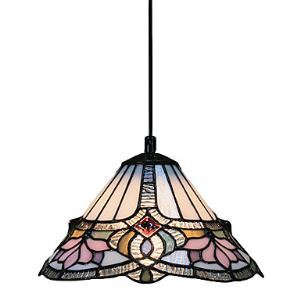 60W 1 - Light Tiffany Pendant Light with Glass Shade Lotus Pattern