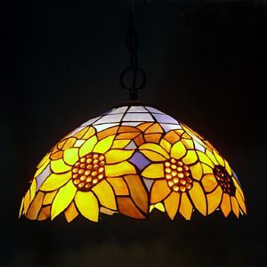 60W 1 - Light Tiffany Pendent Light with Glass Shade in Sunflower Pattern
