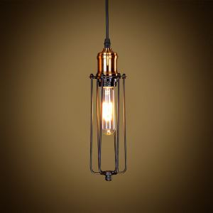 American Rural Industrial Retro Style Iron Craft Black / Copper Color Lamphead Pendant Light