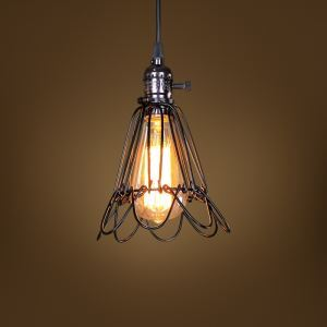 American Rural Industrial Retro Style Iron Craft Bird Cage Pendant Light