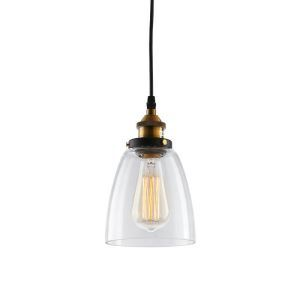 (In Stock)American Rural Industrial Retro Style Iron Craft Bell-shaped Glass Pendant Light Clear Glass Shade