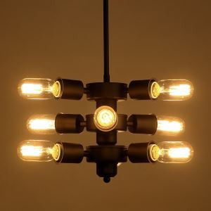 American Rural Industrial Retro Style Iron Craft Windmill Wheel Nine Lights Pendant Light