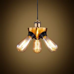 American Rural Industrial Retro Style Iron Craft Copper Head Triangle Pendant Light