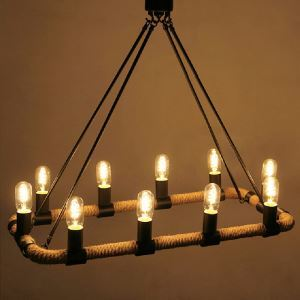 American Rural Industrial Retro Style Iron Craft Rectangular Hemp Rope Pendant Light