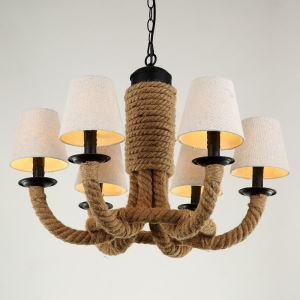 American Rural Industrial Retro Style Iron Craft Simple Cloth Shade Hemp Rope Pendant Light