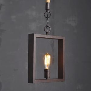 American Rural Industrial Retro Style Iron Craft Square Pendant Light