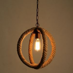 American Rural Industrial Retro Style Iron Craft Creative Artical Hemp Rope Pendant Light