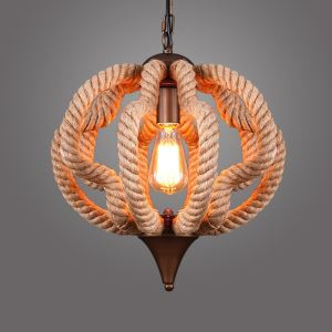 (In Stock)American Rural Industrial Retro Style Iron Craft Creative Pumpkin Hemp Rope Pendant Light