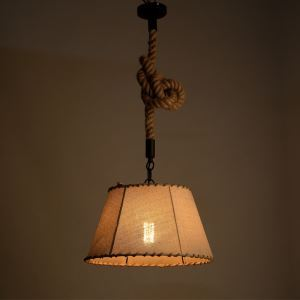 American Rural Industrial Retro Style Iron Craft Nostalgia Linen Lampshade Pendant Light