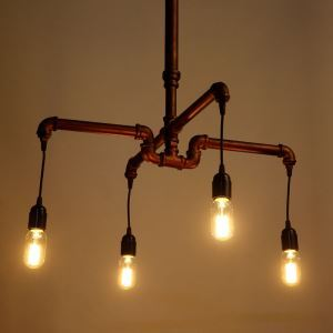 American Rural Industrial Retro Style Iron Craft Multi-head Hanging Water Pipe Chandelier
