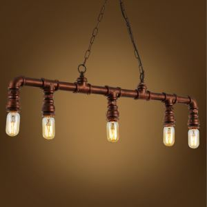American Rural Industrial Retro Style Iron Craft 5 Lights Hanging Water Pipe Chandelier