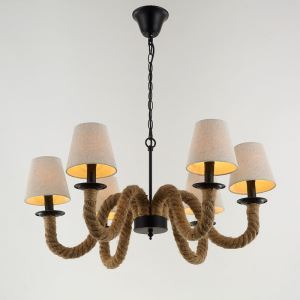 American Rural Industrial Retro Style Iron Craft Creative Hemp Rope Pendant Light