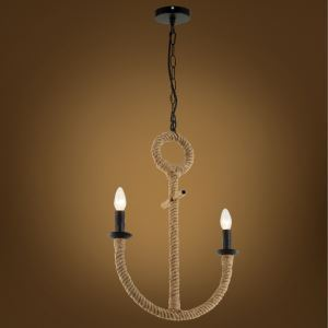 American Rural Industrial Retro Style Iron Craft Water Anchor Hemp Rope Pendant Light