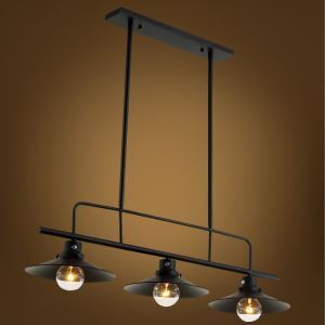 American Rural Industrial Retro Style Iron Craft Black/White Three Lights Pendant Light