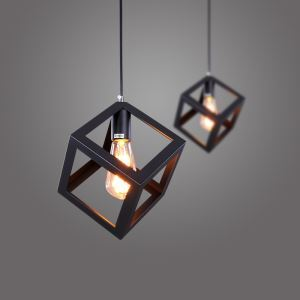 American Rural Industrial Retro Style Iron Craft Black Cube Pendant Light