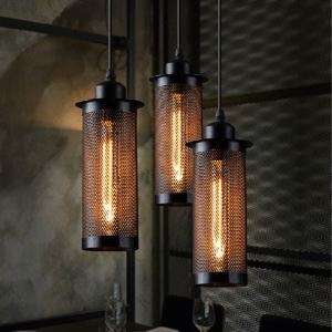 American Rural Industrial Retro Style Iron Craft Grid Chandeliers