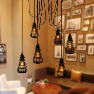 American Rural Industrial Retro Style Iron Craft Creative 6 Lights Iorn Cage Pendant Light