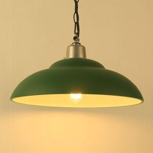 American Rural Industrial Retro Style Iron Craft Green Pot Cover Shaped Pendant Light