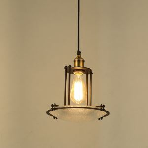 American Rural Industrial Retro Style Iron Craft Iron Frame Glass Pendant Light