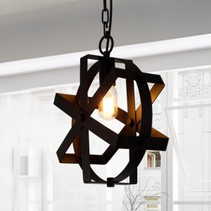 American Rural Industrial Retro Style Iron Craft Creative Iron Grid Pendant Light