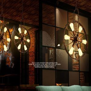 American Rural Industrial Retro Style Iron Craft Personalized Wheel Pendant Light