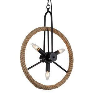 American Rural Industrial Retro Style Iron Craft Wheel Hemp Rope Pendant Light