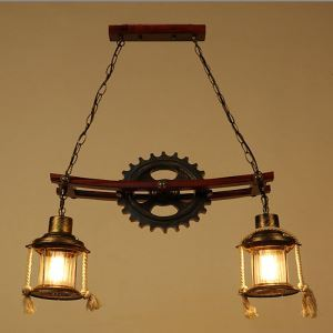 American Rural Industrial Retro Style Iron Craft 2 Lights Pendant Light