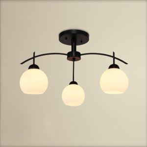 American Rural Industrial Retro Style Iron Craft White 3 Lights Round Glass Pendant Light
