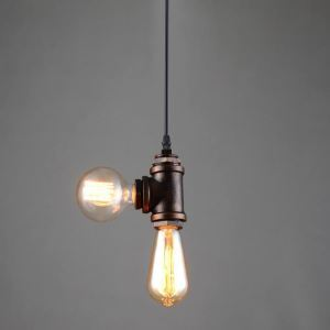 American Rural Industrial Retro Style Iron Craft Personalized 2 Lights Water Pipe Pendant Light