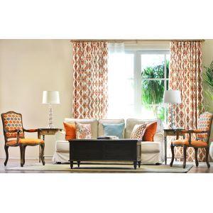 Custom Simple Modern American Rural Nordic Pure Yellow Cotton Orange Short Curtains Window Curtains