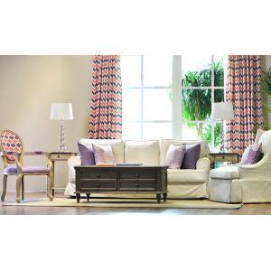 Macaron Modern American Flax Simple Modern Living Room Bedroom Pink Purple Plaid Window Curtains