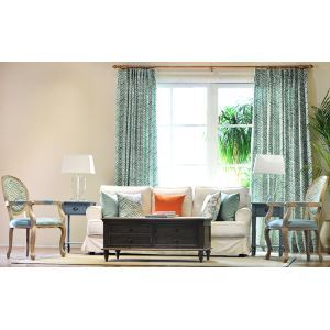 Fashion Striped Stripes American Modern Lake Blue Linen Living Room Bedroom Balcony Curtains