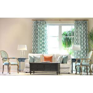 Lake Blue Geometric Lattice High - grade Linen Green Living Room Bedroom Window Floating North Window