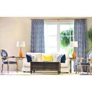 High - grade Linen Zebra Traditional Blue Linen Living Room Bedroom Window Curtains