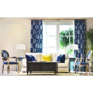 High - grade American Village Retro Mediterranean Blue Sample Room Short Semi - shade Shading Finished Curtain Customization