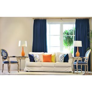 High - grade Warm Traditional Rural Green Cotton Blue Bay Window Short Curtain Semi - shade Custom Curtains