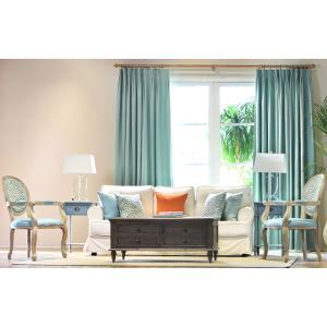 High - grade Makarong Blue Living Room Curtains Lounge Area