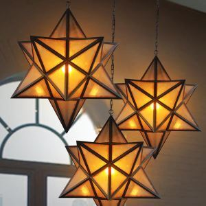 American Rural Industrial Retro Style Iron Craft Personalized Star Pendant Light