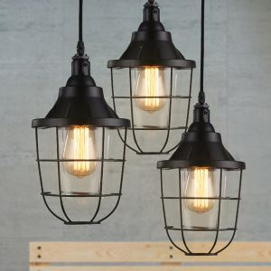 American Rural Industrial Retro Style Iron Craft Decorate Iron Grid Pendant Light