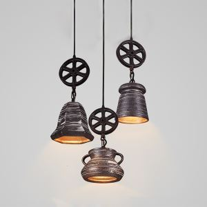 American Rural Industrial Retro Style Iron Craft Decorate Ceramics Pendant Light