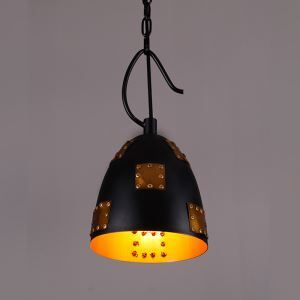 American Rural Industrial Retro Style Iron Craft Pot Cover Lampshde Pendant Light
