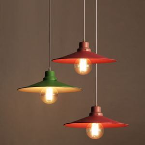 American Rural Industrial Retro Style Iron Craft Personalized Colorful Umbrella Pendant Light