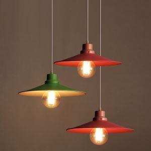 American Rural Industrial Retro Style Iron Craft Personalized Colorful Umbrella Pendant Light