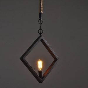 American Rural Industrial Retro Style Iron Craft Simple Diamond Pendant Light